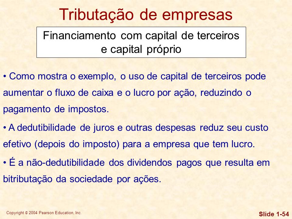Copyright © 2004 Pearson Education, Inc. Slide 1-53 Tributação de empresas Financiamento com capital de terceiros e capital próprio