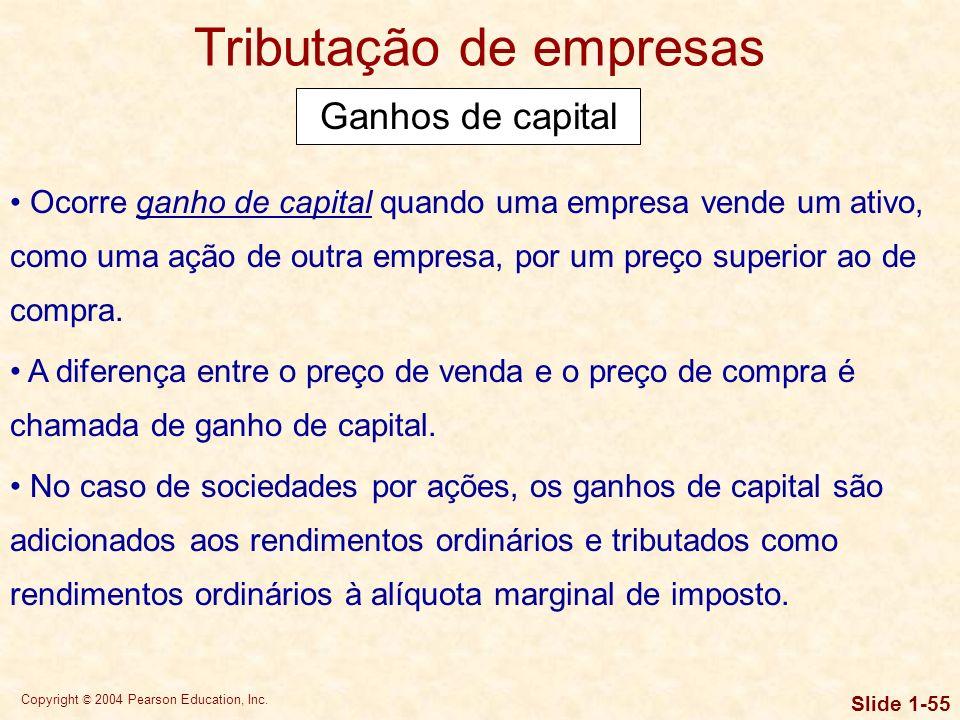Copyright © 2004 Pearson Education, Inc. Slide 1-54 Tributação de empresas Financiamento com capital de terceiros e capital próprio Como mostra o exem