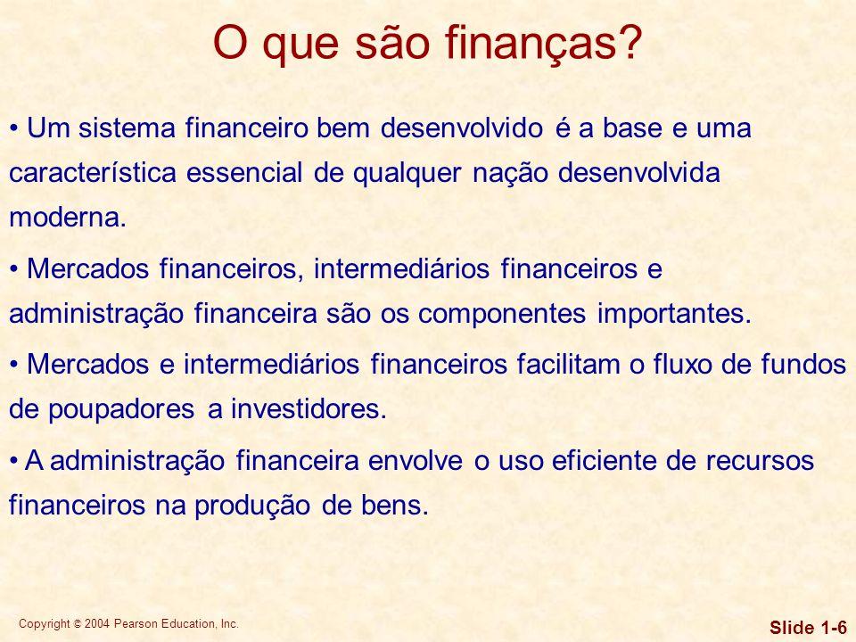 Copyright © 2004 Pearson Education, Inc. Slide 1-5 O que são finanças? Capital de giro Capital de giro Decisões de investimento Decisões de financiame