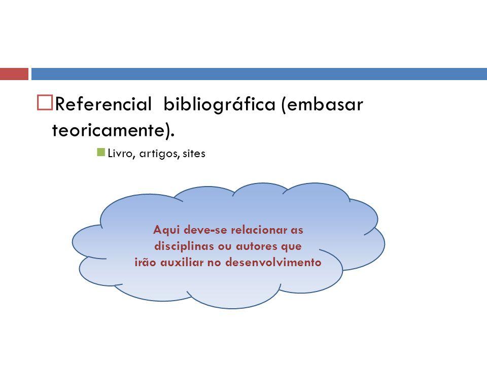 Referencial bibliográfica (embasar teoricamente). Livro, artigos, sites Aqui deve-se relacionar as disciplinas ou autores que irão auxiliar no desenvo