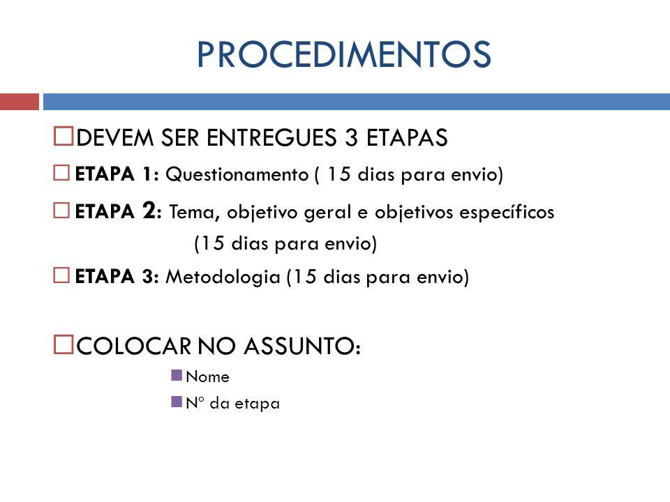 PROCEDIMENTOS DEVEM SER ENTREGUES 3 ETAPAS ETAPA 1: Questionamento ( 15 dias para envio) ETAPA 2: Tema, objetivo geral e objetivos específicos (15 dia