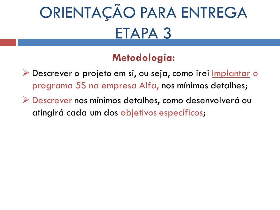 ORIENTAÇÃO PARA ENTREGA ETAPA 3 Metodologia: Descrever o projeto em si, ou seja, como irei Implantar o programa 5S na empresa Alfa, nos mínimos detalh