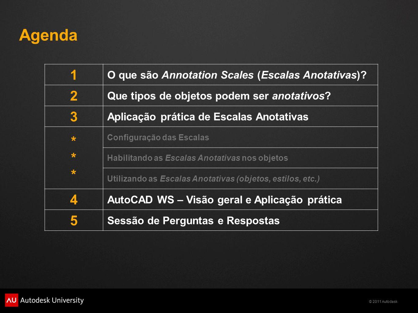 © 2011 Autodesk Agenda 1 O que são Annotation Scales (Escalas Anotativas)? 2 Que tipos de objetos podem ser anotativos? 3 Aplicação prática de Escalas