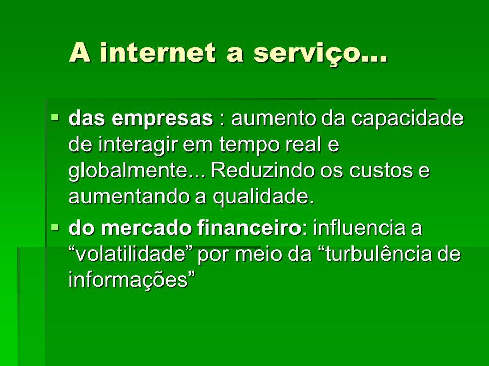 A internet a serviço... das empresas : aumento da capacidade de interagir em tempo real e globalmente... Reduzindo os custos e aumentando a qualidade.