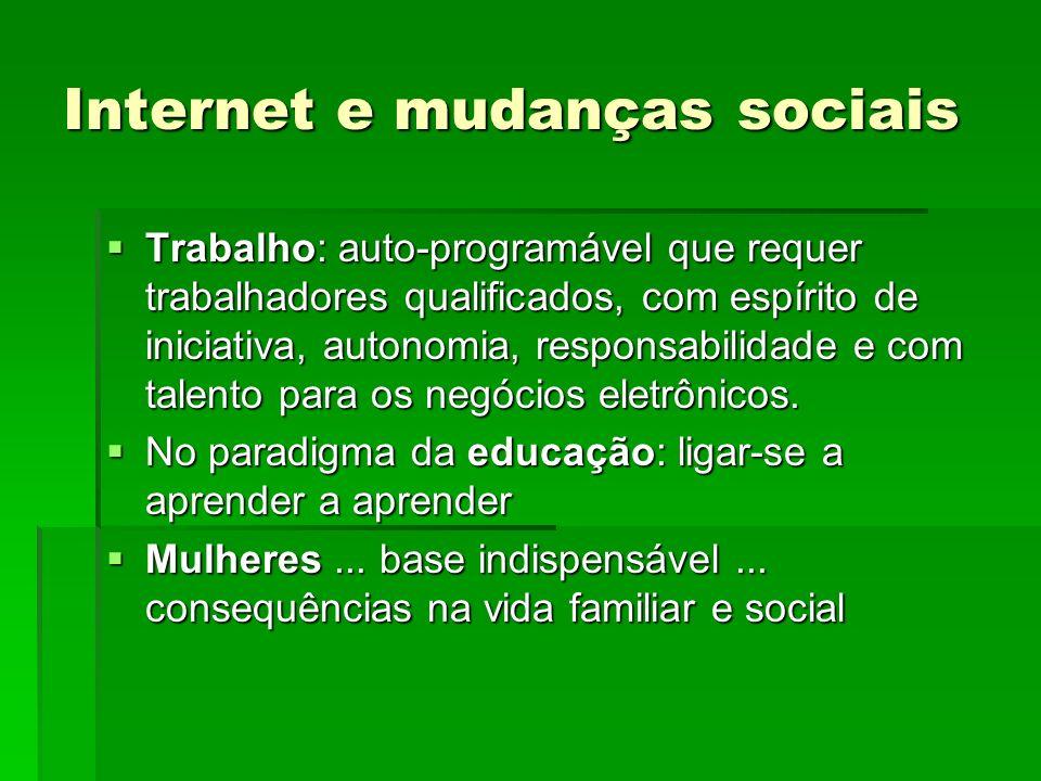 Internet e mudanças sociais Trabalho: auto-programável que requer trabalhadores qualificados, com espírito de iniciativa, autonomia, responsabilidade