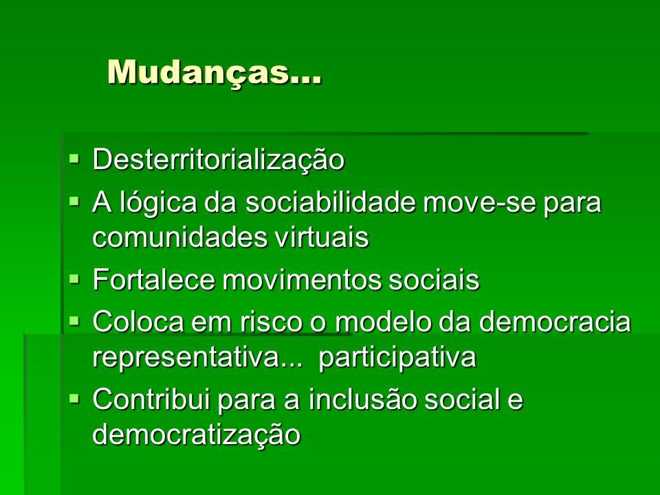 Mudanças... Desterritorialização A lógica da sociabilidade move-se para comunidades virtuais Fortalece movimentos sociais Coloca em risco o modelo da