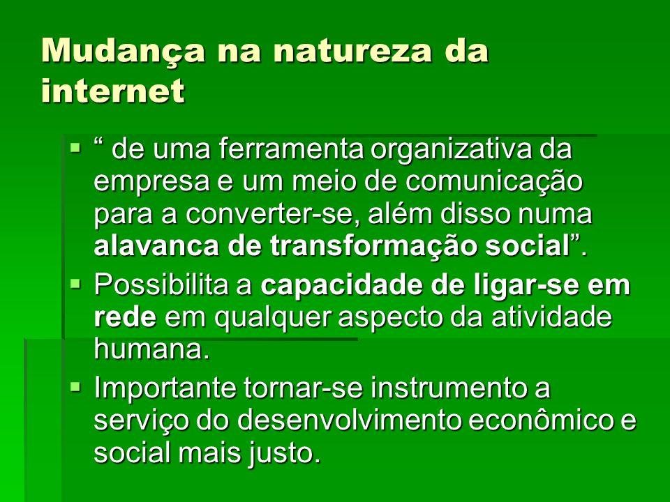 Mudança na natureza da internet de uma ferramenta organizativa da empresa e um meio de comunicação para a converter-se, além disso numa alavanca de tr