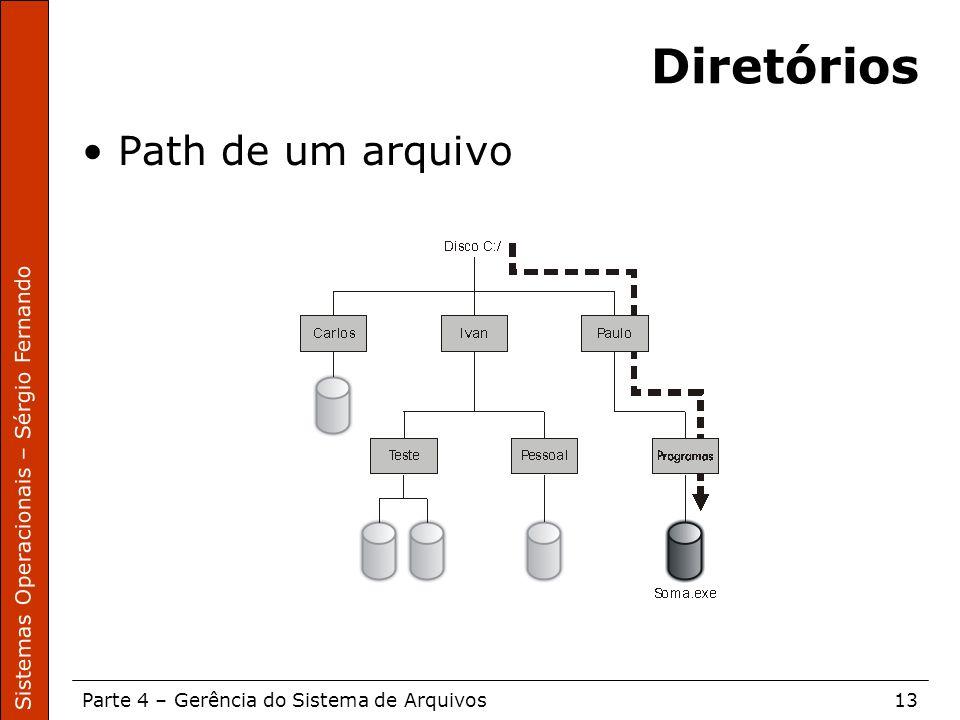 Sistemas Operacionais – Sérgio Fernando Parte 4 – Gerência do Sistema de Arquivos13 Diretórios Path de um arquivo