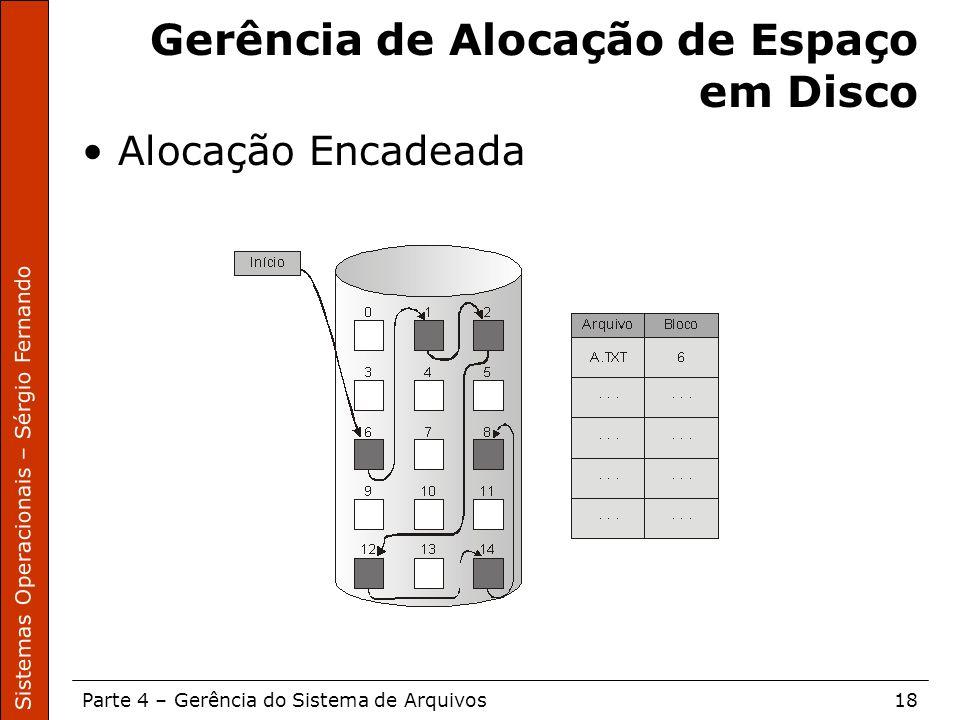Sistemas Operacionais – Sérgio Fernando Parte 4 – Gerência do Sistema de Arquivos18 Gerência de Alocação de Espaço em Disco Alocação Encadeada