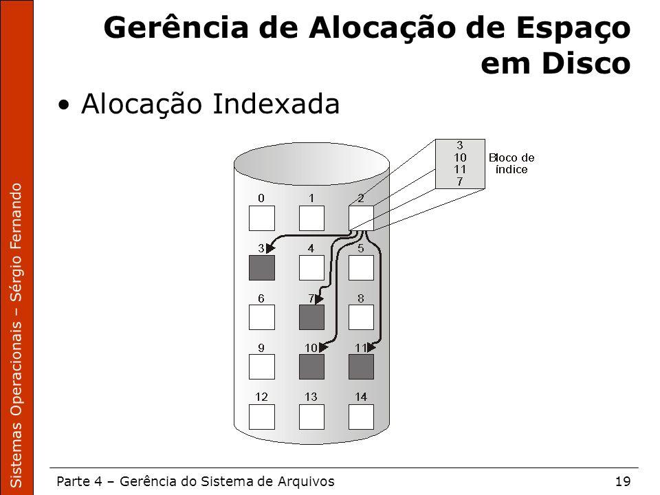Sistemas Operacionais – Sérgio Fernando Parte 4 – Gerência do Sistema de Arquivos19 Gerência de Alocação de Espaço em Disco Alocação Indexada