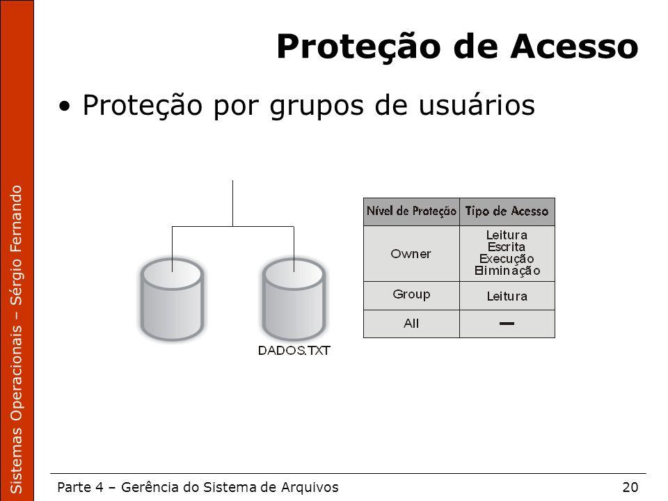 Sistemas Operacionais – Sérgio Fernando Parte 4 – Gerência do Sistema de Arquivos20 Proteção de Acesso Proteção por grupos de usuários