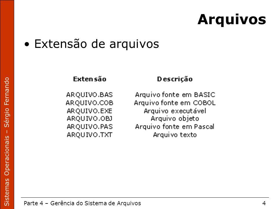 Sistemas Operacionais – Sérgio Fernando Parte 4 – Gerência do Sistema de Arquivos4 Arquivos Extensão de arquivos