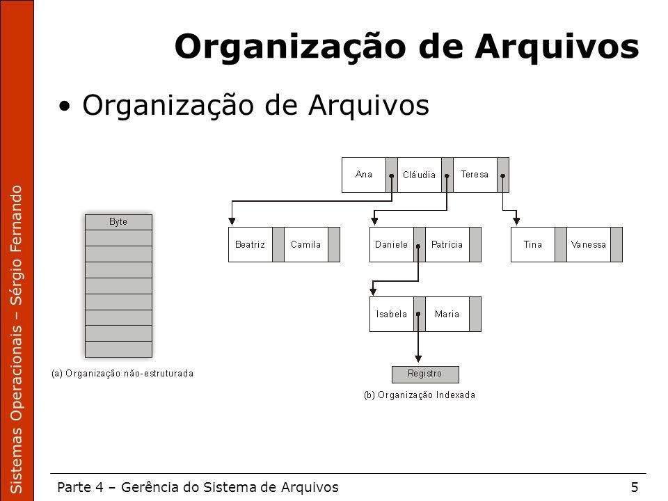Sistemas Operacionais – Sérgio Fernando Parte 4 – Gerência do Sistema de Arquivos5 Organização de Arquivos