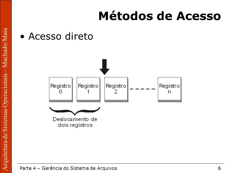 Sistemas Operacionais – Sérgio Fernando Parte 4 – Gerência do Sistema de Arquivos6 Arquitetura de Sistemas Operacionais – Machado/Maia Métodos de Aces