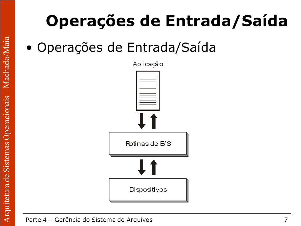 Sistemas Operacionais – Sérgio Fernando Parte 4 – Gerência do Sistema de Arquivos7 Arquitetura de Sistemas Operacionais – Machado/Maia Operações de En