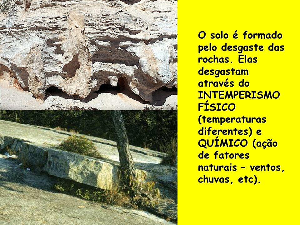 O solo é formado pelo desgaste das rochas. Elas desgastam através do INTEMPERISMO FÍSICO (temperaturas diferentes) e QUÍMICO (ação de fatores naturais