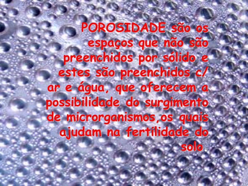 POROSIDADE são os espaços que não são preenchidos por sólido e estes são preenchidos c/ ar e água, que oferecem a possibilidade do surgimento de micro