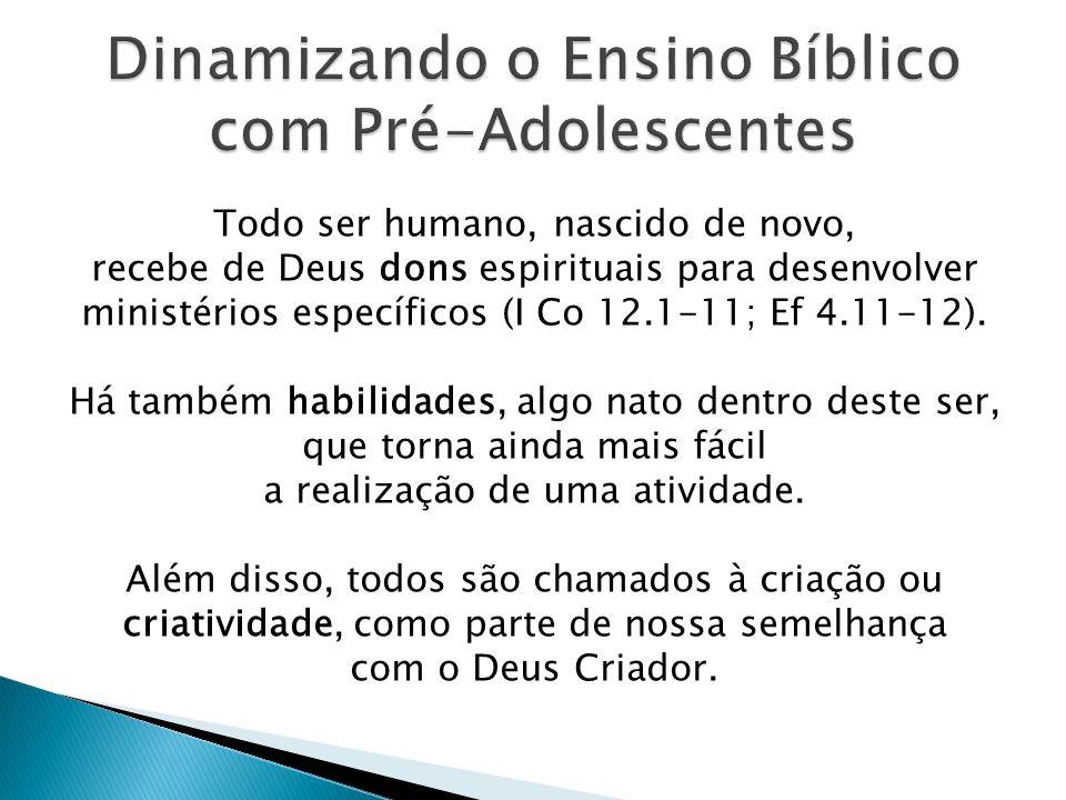 Esses três elementos, somados às necessidades básicas - experiência da salvação e certeza da mesma - fazem do educador cristão um referencial de vida para os Pré-Adolescentes.