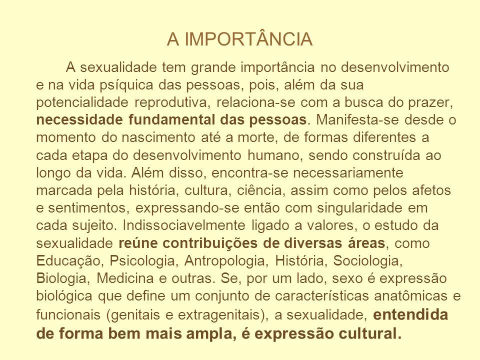 A IMPORTÂNCIA A sexualidade tem grande importância no desenvolvimento e na vida psíquica das pessoas, pois, além da sua potencialidade reprodutiva, re