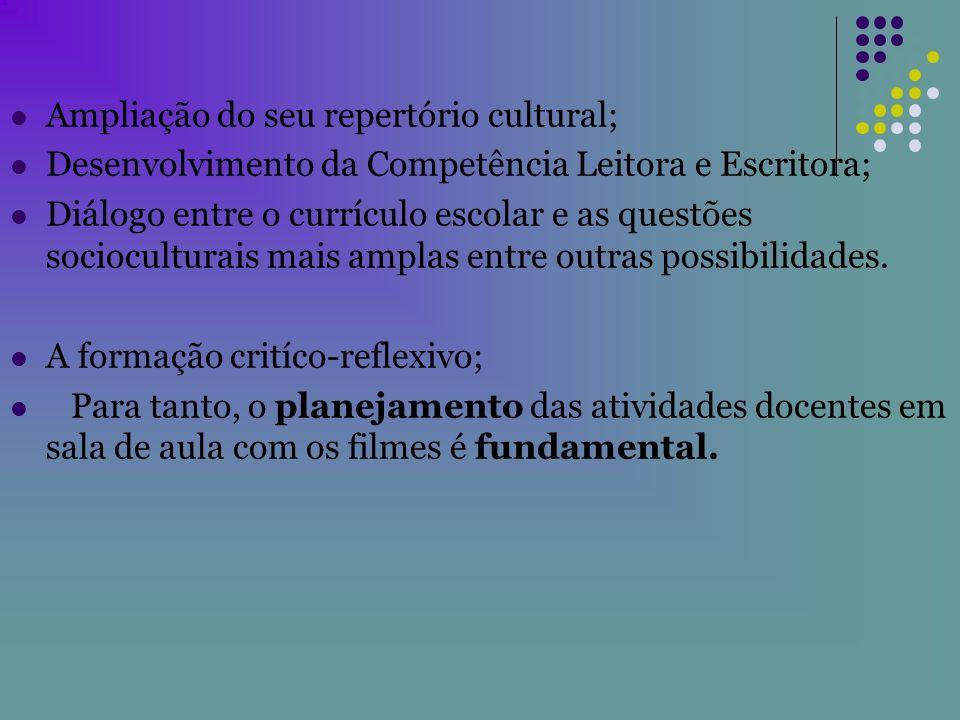 Ampliação do seu repertório cultural; Desenvolvimento da Competência Leitora e Escritora; Diálogo entre o currículo escolar e as questões sociocultura