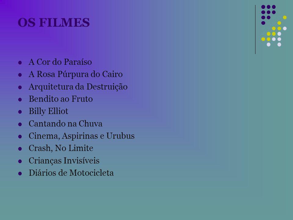 OS FILMES A Cor do Paraíso A Rosa Púrpura do Cairo Arquitetura da Destruição Bendito ao Fruto Billy Elliot Cantando na Chuva Cinema, Aspirinas e Urubu