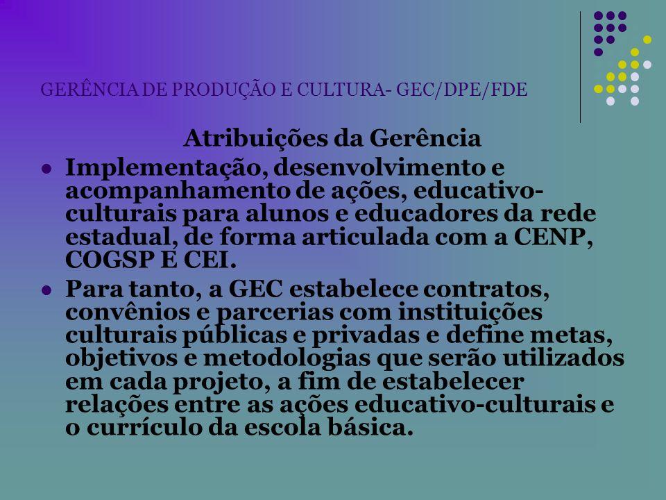 GERÊNCIA DE PRODUÇÃO E CULTURA- GEC/DPE/FDE Atribuições da Gerência Implementação, desenvolvimento e acompanhamento de ações, educativo- culturais par