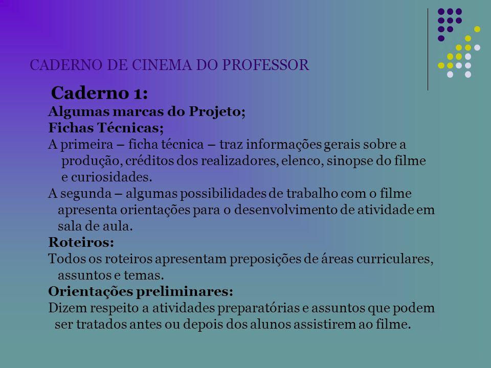 CADERNO DE CINEMA DO PROFESSOR Caderno 1: Algumas marcas do Projeto; Fichas Técnicas; A primeira – ficha técnica – traz informações gerais sobre a pro