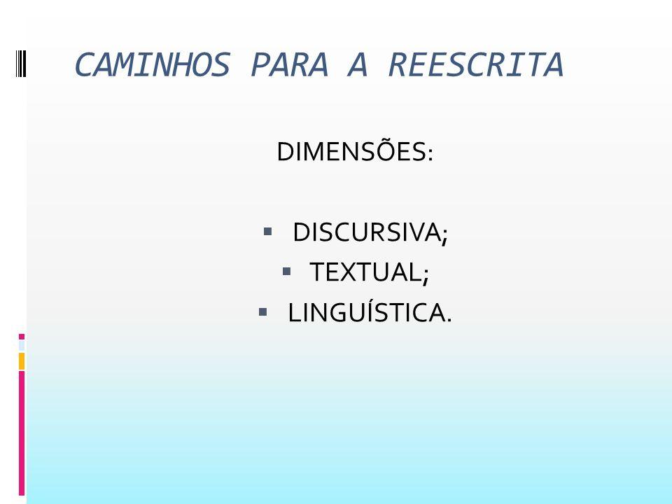Aspectos da dimensão textual Os diferentes tipos de recursos linguísticos que asseguram a coesão (léxico-gramatical) e a coerência (semântica) do texto e permitam a progressão temática; por exemplo, uso de pronomes, da flexão verbal, de repetições, sinônimos, hiperônimos e hipônimos, paráfrases, de artigos definidos ou indefinidos etc., unindo e estabelecendo ganchos entre o que já foi dito e o que ainda vai se dizer;