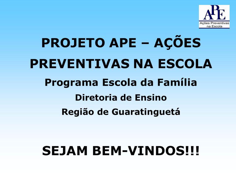 PROJETO APE – AÇÕES PREVENTIVAS NA ESCOLA Programa Escola da Família Diretoria de Ensino Região de Guaratinguetá SEJAM BEM-VINDOS!!!