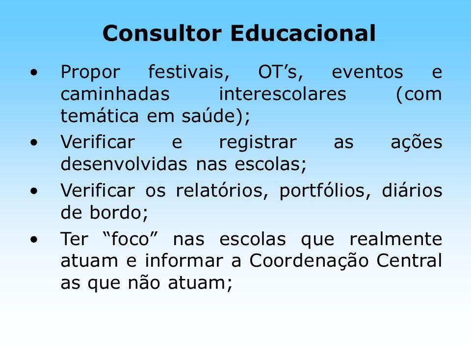 Consultor Educacional Propor festivais, OTs, eventos e caminhadas interescolares (com temática em saúde); Verificar e registrar as ações desenvolvidas
