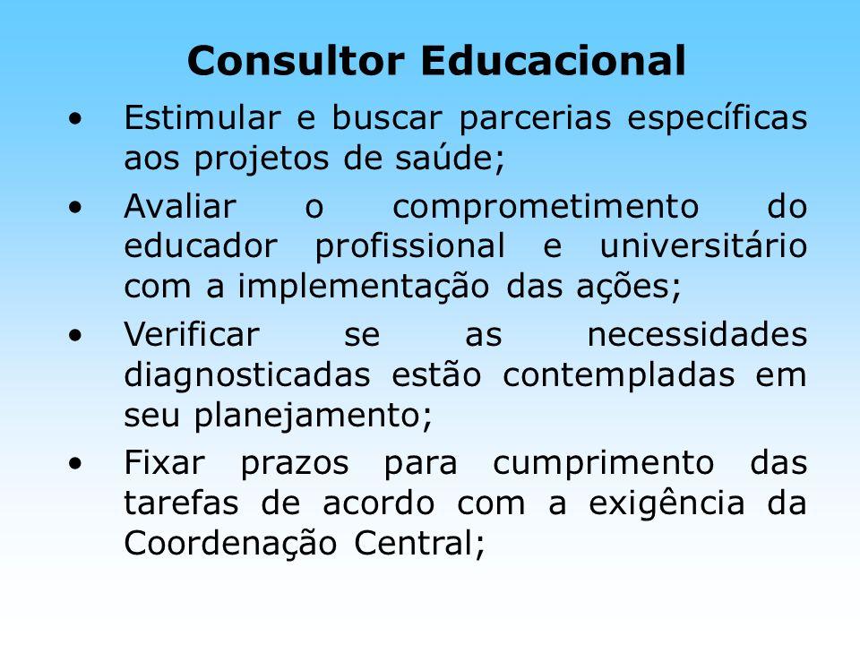 Consultor Educacional Estimular e buscar parcerias específicas aos projetos de saúde; Avaliar o comprometimento do educador profissional e universitár