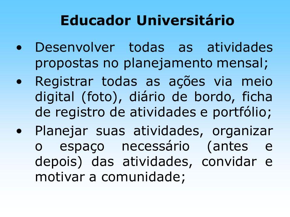 Educador Universitário Desenvolver todas as atividades propostas no planejamento mensal; Registrar todas as ações via meio digital (foto), diário de b