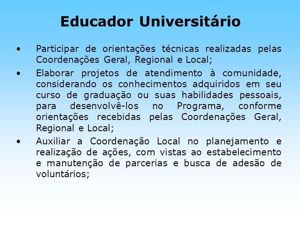 Educador Universitário Participar de orientações técnicas realizadas pelas Coordenações Geral, Regional e Local; Elaborar projetos de atendimento à co