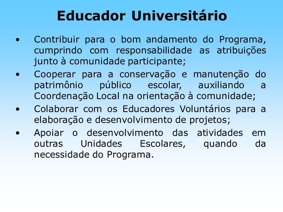 Educador Universitário Contribuir para o bom andamento do Programa, cumprindo com responsabilidade as atribuições junto à comunidade participante; Coo