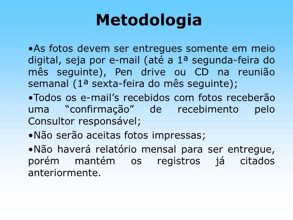 Metodologia As fotos devem ser entregues somente em meio digital, seja por e-mail (até a 1ª segunda-feira do mês seguinte), Pen drive ou CD na reunião