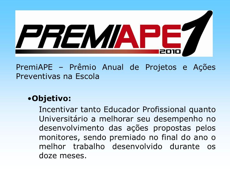 PremiAPE – Prêmio Anual de Projetos e Ações Preventivas na Escola Objetivo: Incentivar tanto Educador Profissional quanto Universitário a melhorar seu