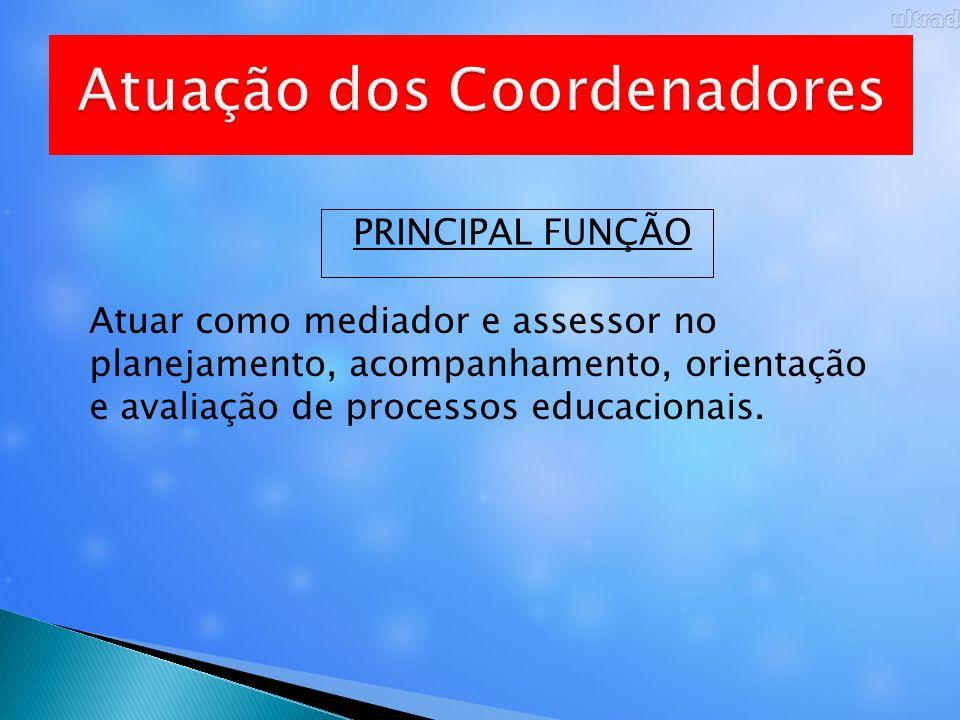 PRINCIPAL FUNÇÃO Atuar como mediador e assessor no planejamento, acompanhamento, orientação e avaliação de processos educacionais.