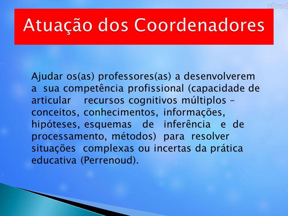Ajudar os(as) professores(as) a desenvolverem a sua competência profissional (capacidade de articular recursos cognitivos múltiplos – conceitos, conhe