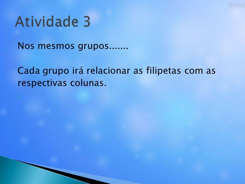 Nos mesmos grupos....... Cada grupo irá relacionar as filipetas com as respectivas colunas.