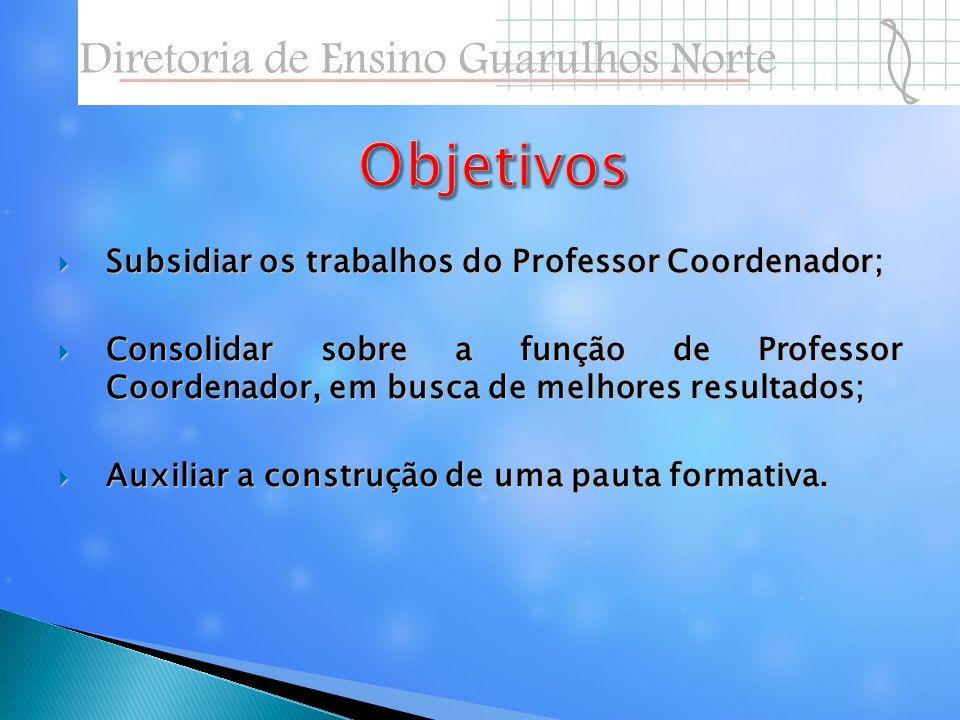 Subsidiar os trabalhos do Professor Coordenador; Subsidiar os trabalhos do Professor Coordenador; Consolidar sobre a função de Professor Coordenador,