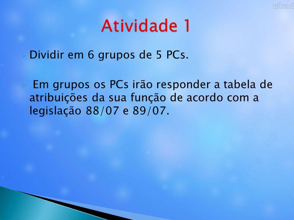 Dividir em 6 grupos de 5 PCs. Em grupos os PCs irão responder a tabela de atribuições da sua função de acordo com a legislação 88/07 e 89/07.