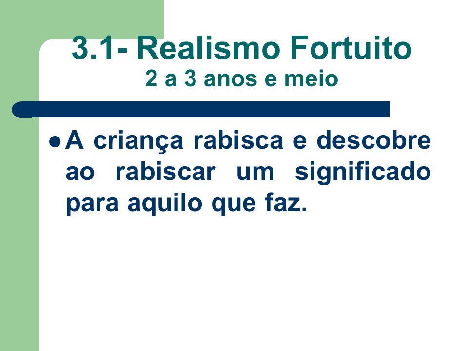 3.1- Realismo Fortuito 2 a 3 anos e meio A criança rabisca e descobre ao rabiscar um significado para aquilo que faz.