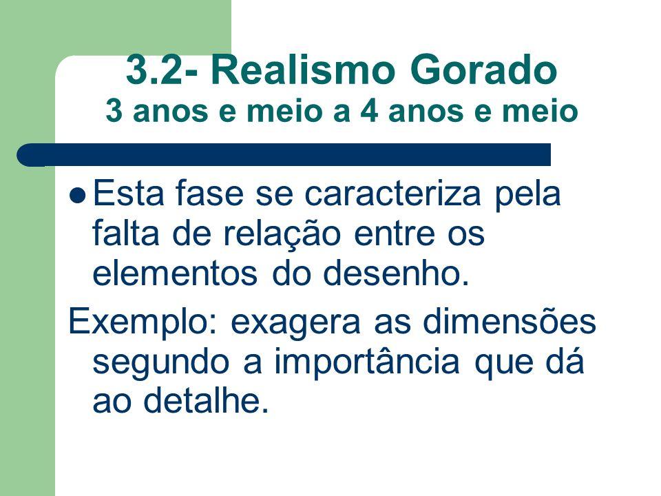 3.2- Realismo Gorado 3 anos e meio a 4 anos e meio Esta fase se caracteriza pela falta de relação entre os elementos do desenho.