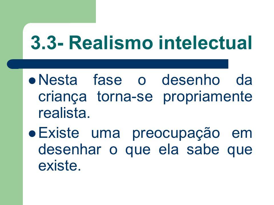 3.3- Realismo intelectual Nesta fase o desenho da criança torna-se propriamente realista.