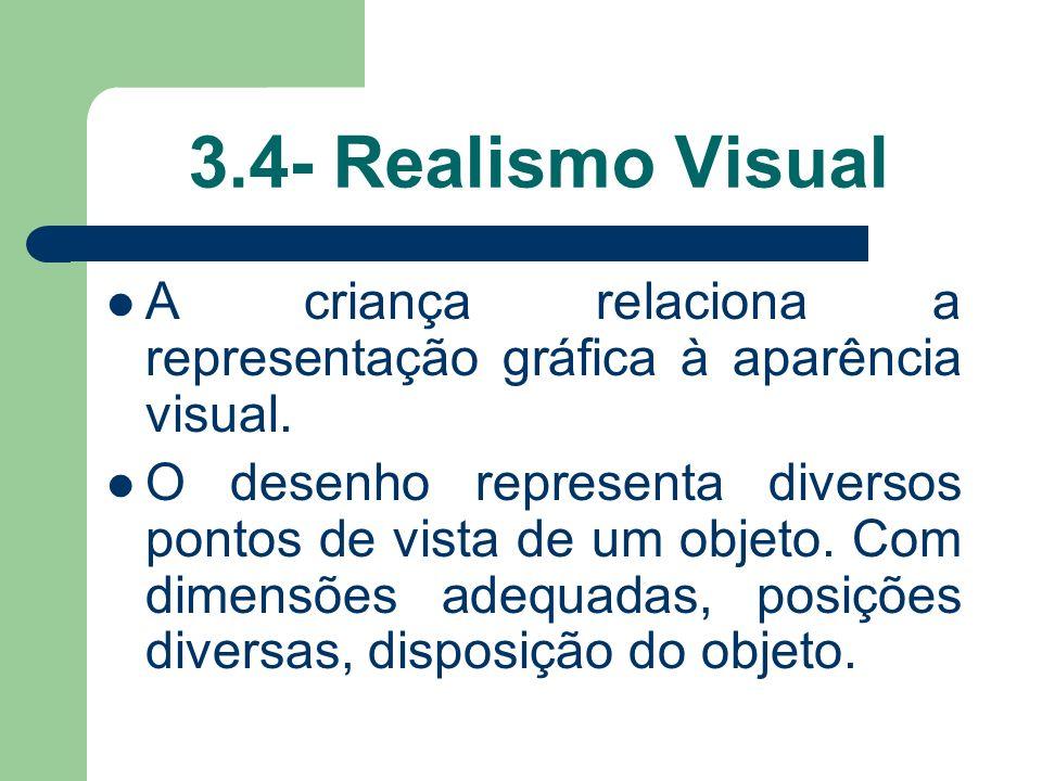 3.4- Realismo Visual A criança relaciona a representação gráfica à aparência visual.