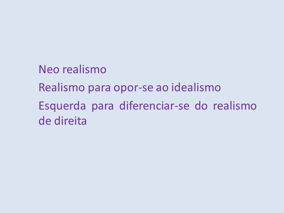 Neo realismo Realismo para opor-se ao idealismo Esquerda para diferenciar-se do realismo de direita