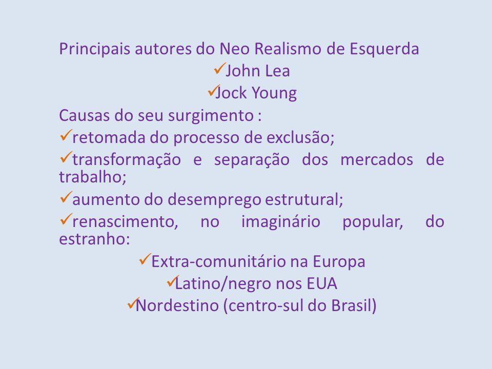 Principais autores do Neo Realismo de Esquerda John Lea Jock Young Causas do seu surgimento : retomada do processo de exclusão; transformação e separa