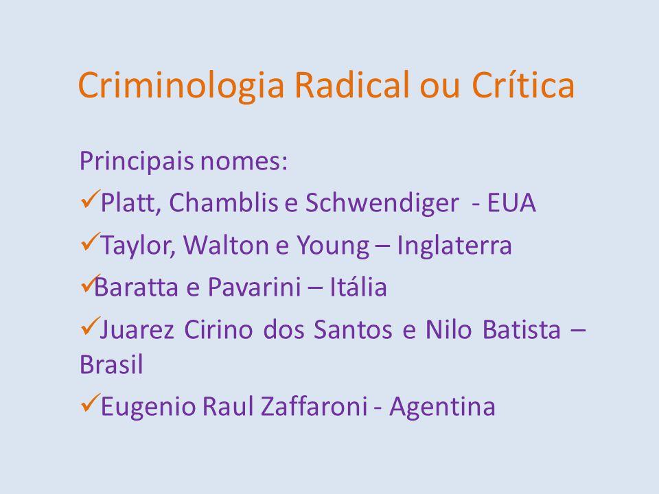 Criminologia Radical ou Crítica Principais nomes: Platt, Chamblis e Schwendiger - EUA Taylor, Walton e Young – Inglaterra Baratta e Pavarini – Itália