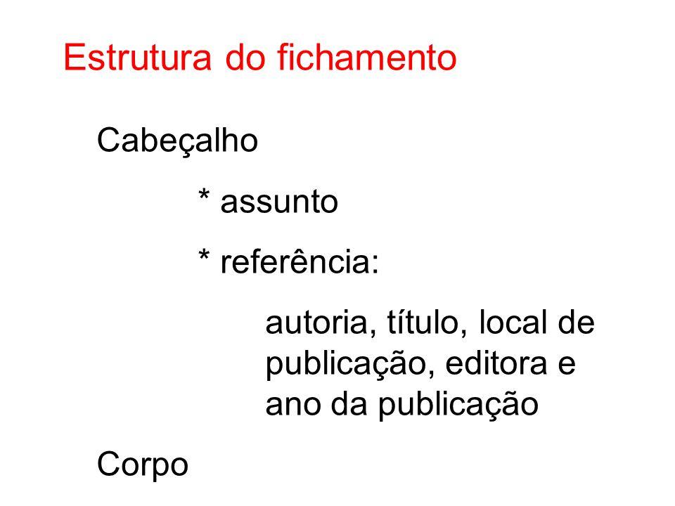 Estrutura do fichamento Cabeçalho * assunto * referência: autoria, título, local de publicação, editora e ano da publicação Corpo