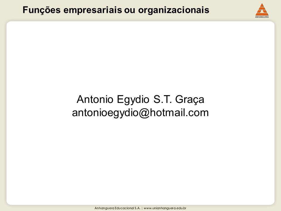 Anhanguera Educacional S.A. | www.unianhanguera.edu.br Funções empresariais ou organizacionais Antonio Egydio S.T. Graça antonioegydio@hotmail.com